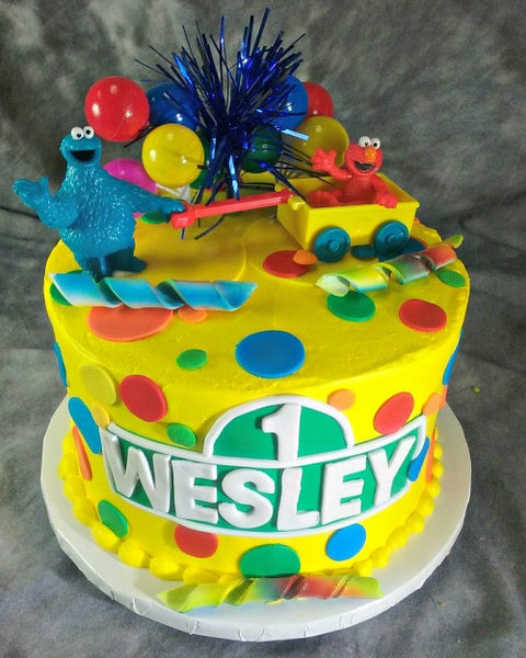 Sesame Street Cookie Monster And Elmo Round Cake Tiffany S Bakery