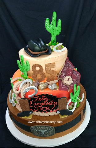 "Cowboy Three Tier  6"", 10"" and 14"" Celebration Tier Cake"