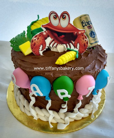 "Crabs Partying on 3 layer 8"" Round Cake"