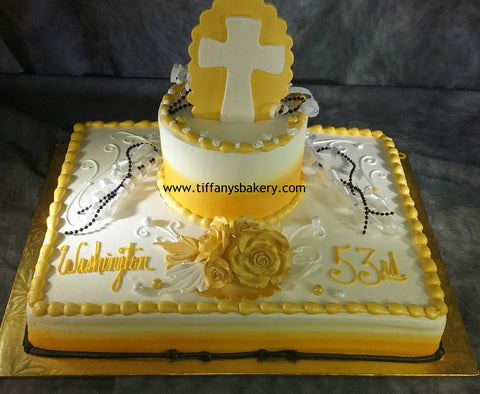 Cross on Half Sheet with 6 Inch Round Cake