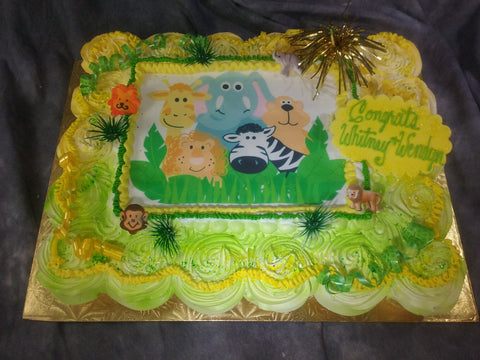 Cupcake Cake with Baby Animal Edible Image Layon.