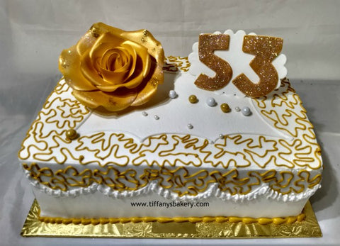 Double Layer Sheet Cake with Big Rose - Quarter Sheet