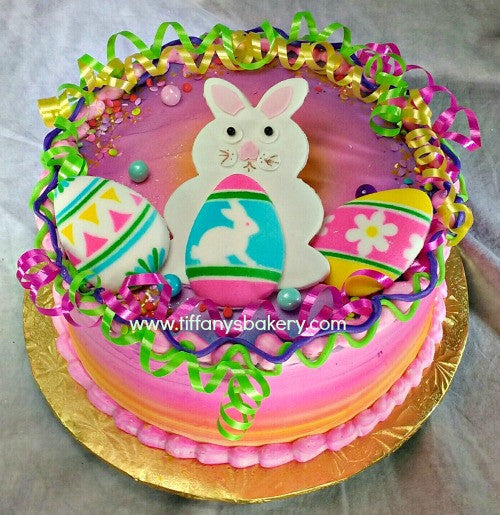 Easter Bunny With Eggs On Round Cake Tiffany S Bakery