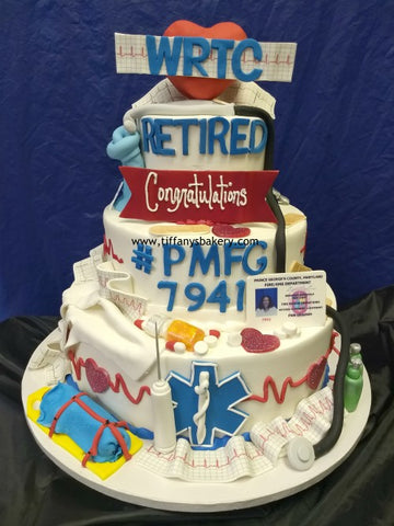 Retirement Celebration 3 Tier Cake for EMT