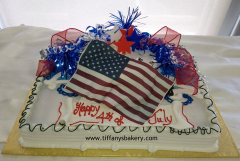 Half Sheet with 8 Inch Round Single Layer Cake - American Flag