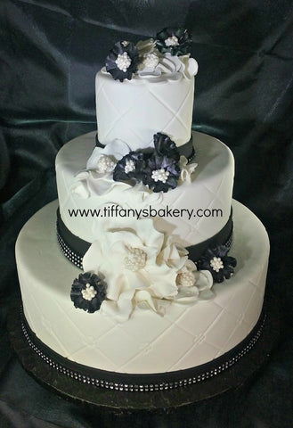 Black Bling and Diamond Pattern Fondant Wedding Cake