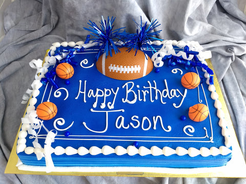 Football with Poptop on Sheet  Cake