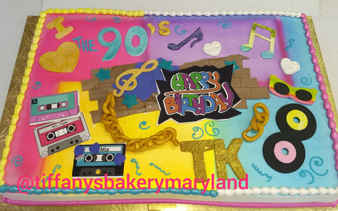 Blast from the Past  Theme Sheet Cake - 80's and 90's remembered