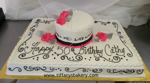 "Full Sheet with 8"" Double Layer Stacked Cake"