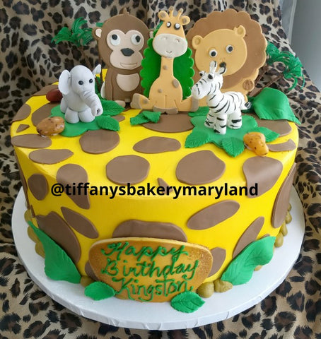 "Giraffe Print with Jungle Animals - 12"" Round Cake"
