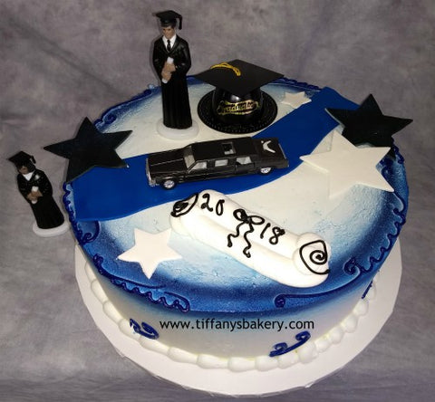 Grad with Limo on Round Cake