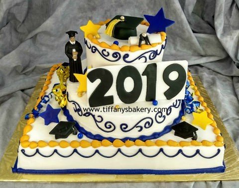 "Half Sheet with 10"" Single Layer and 6"" Double Layer Cake - 2019 Grad"