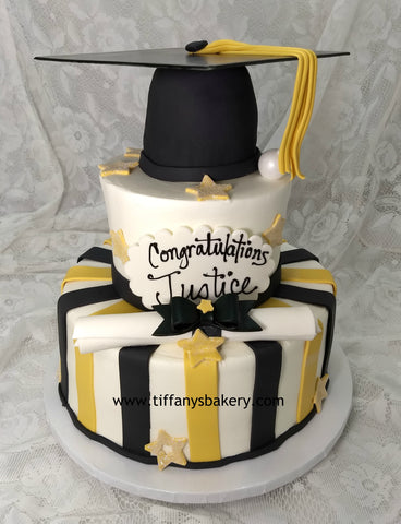 Grad Cap with Stripes Celebration Tier Cake