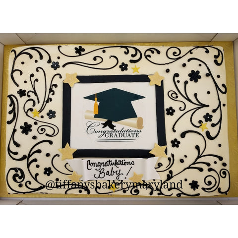 Elegant Grad Edible Image Layon on Full Sheet Cake
