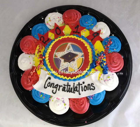 "10"" Round with Edible Image Layon Design and 15 cupcakes on a Tray"