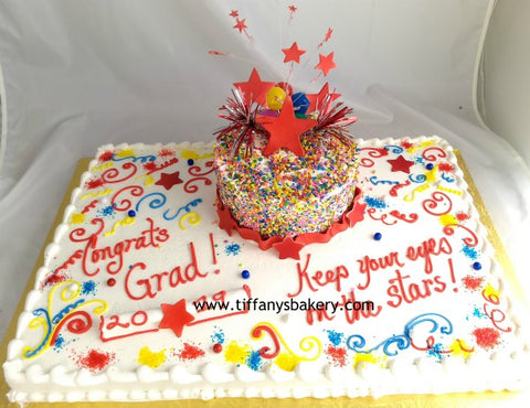 "Full Sheet with 8"" Double Layer Stacked Cake - Graduation Stars"
