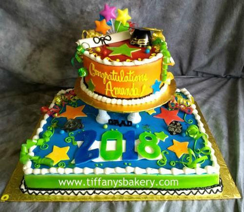 Half Sheet with 6 Inch Round Double Layer Cake on Separator - Graduation Party.