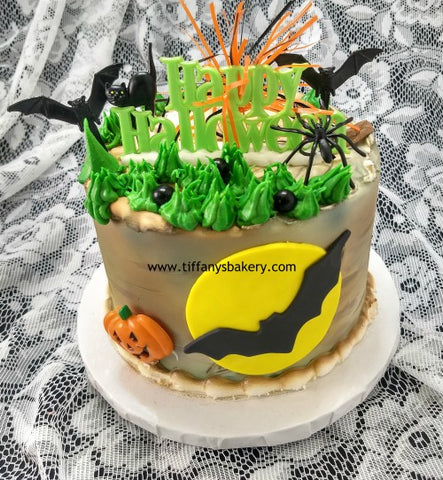 "Halloween Round Cake 6"" with Moon and Bat"