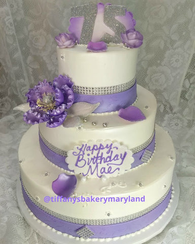 Ribbons and Bling Peony 3 Tier Celebration Cake
