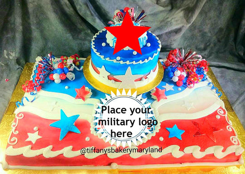 "Military Celebration Full Sheet with 8"" Double Layer Cake"