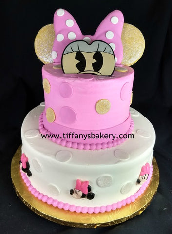 Minnie Mouse Face Celebration Tier Cake