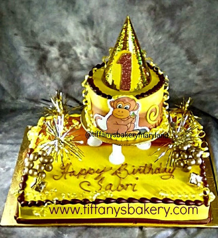 "Half  Sheet Cake with 6"" Round and Monkey Edible Image"