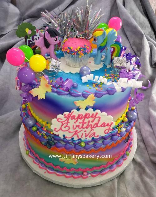 Outstanding My Little Pony Celebration Tier Cake Tiffanys Bakery Personalised Birthday Cards Paralily Jamesorg