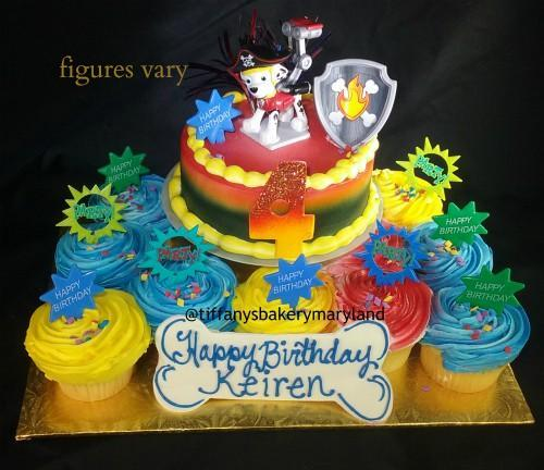 Paw Patrol 6 Quot Round Cake With 12 Cupcakes Tiffany S Bakery