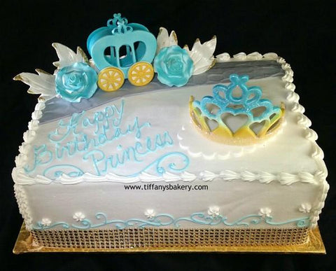 Princess Coach and Crown Double Layer 1/4 Sheet Cake