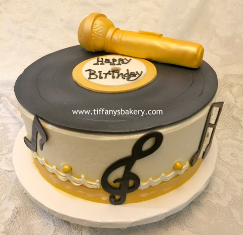 Record and Microphone on Round Cake