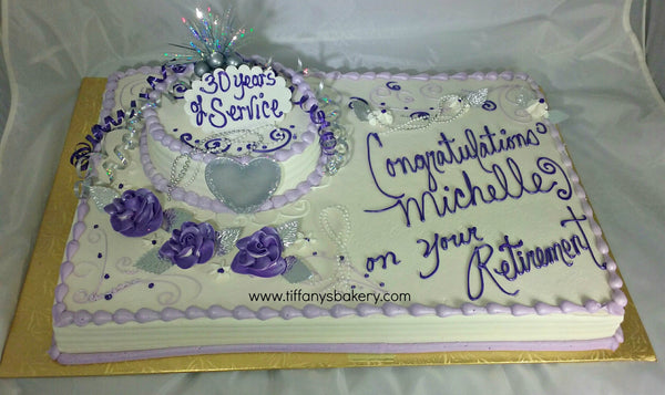 Retirement Full Sheet Cake With 8 Quot Round Cake Tiffany S