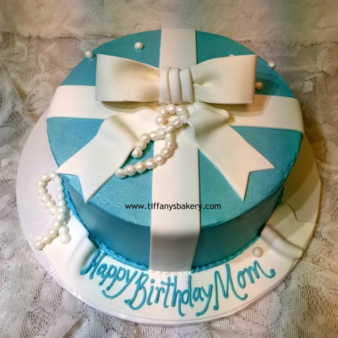 Gift Round Cake Tiffany Blue with Fondant Ribbon