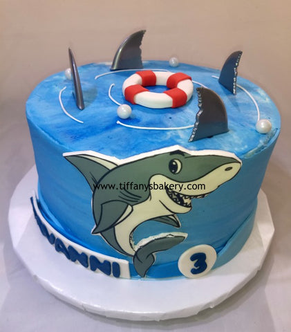 "Buttercream Frosted 8"" Round Cake - Shark"