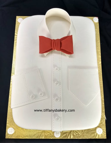 White Shirt with Bow Tie Sculpured Cake
