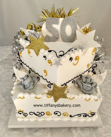 "Square Celebration 6"" & 10"" Two Tier Cake"
