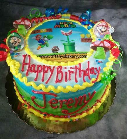 Super Mario  Round Cake with Edible Image Layon