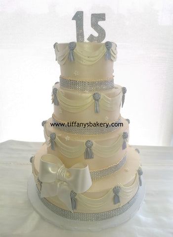 Swags and Tassel 4 Tier Cake