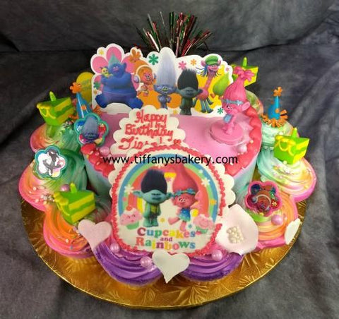 "8"" Round Cake with 12 Cupcakes - Troll Edible Image"