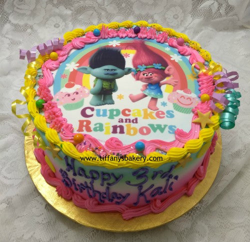 Groovy Edible Image Layon On 10 Round Cake Trolls Cupcakes And Funny Birthday Cards Online Hendilapandamsfinfo