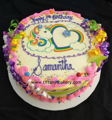 Unicorn Edible Image Layon on Round Cake