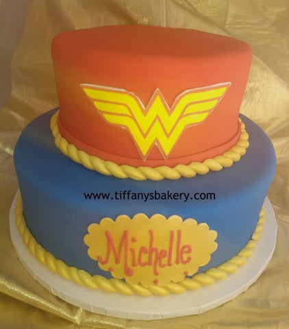 Wonder Woman Rolled Fondant Celebration Tier Cake
