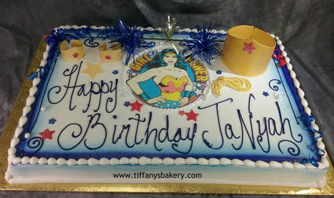 Wonder Woman Sheet Cake with Crown