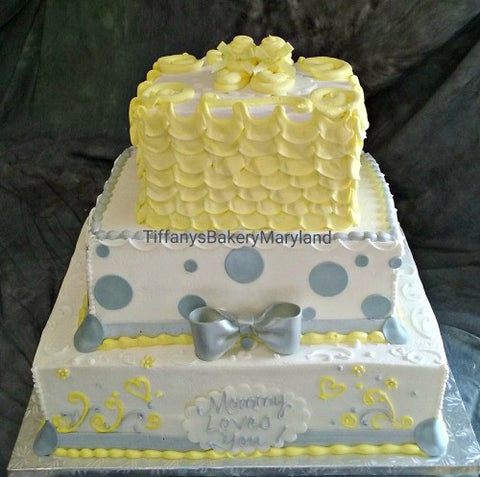 Baby Shower Yellow and Gray  Cake