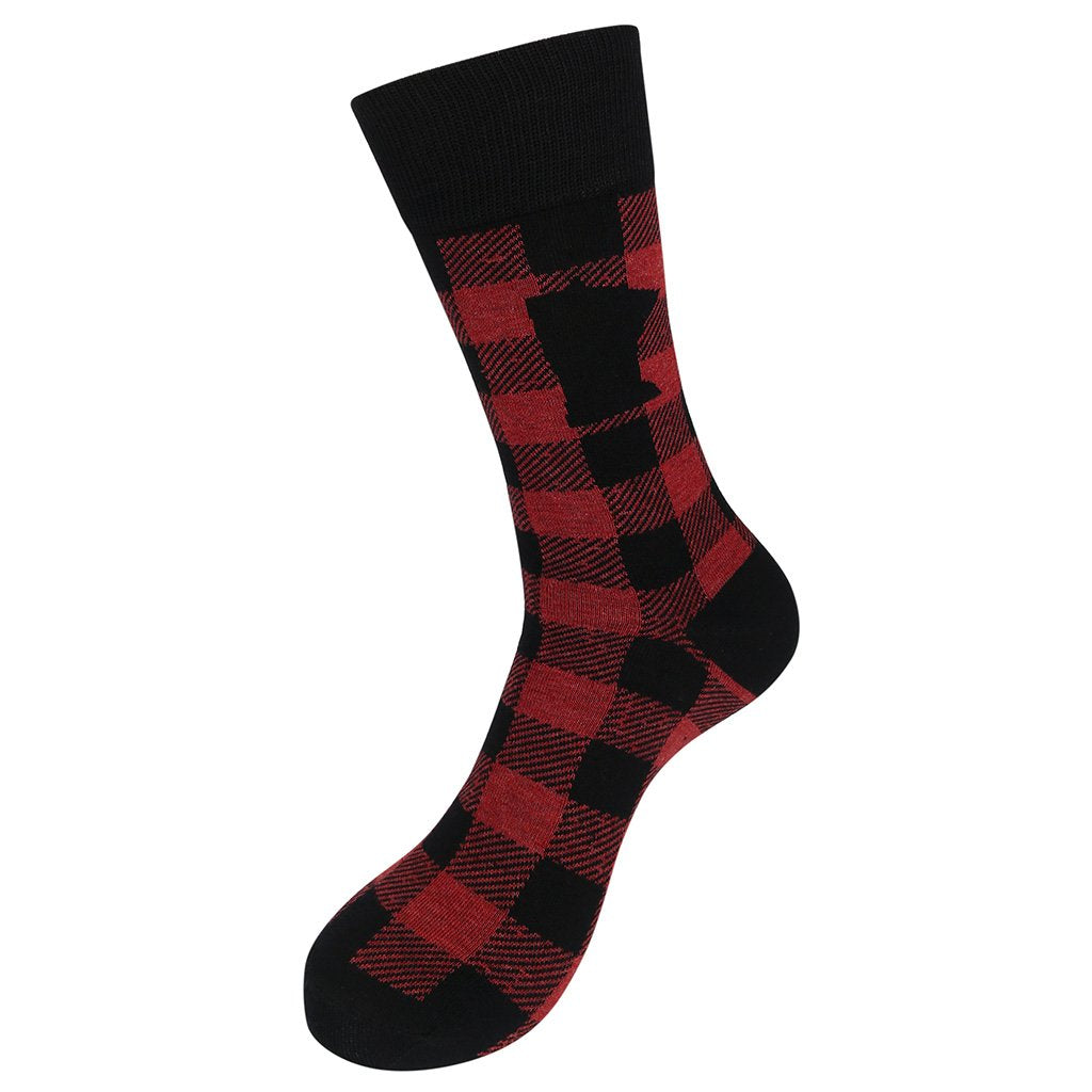 Minnesota Red Buffalo Check Plaid Socks