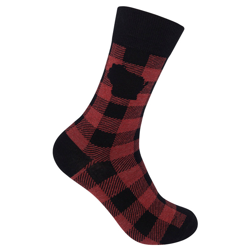 Wisconsin Red Buffalo Check Plaid Socks