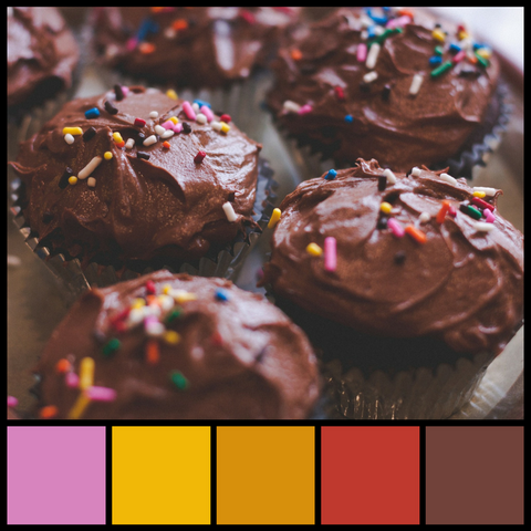 Rainbow Sprinkles and Chocolate cupcakes, tasty and colorful color palette from Sara Hickman Designs.