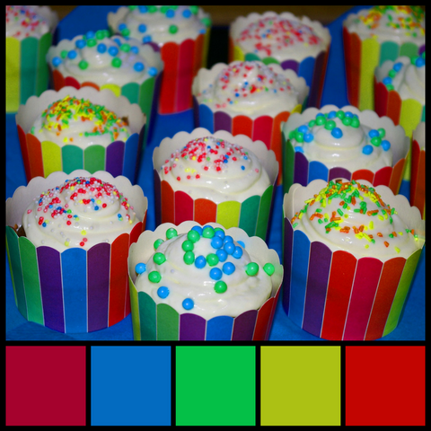 Wrapping cupcakes brings in tons of color and a great color palette to work with from Sara Hickman Designs.