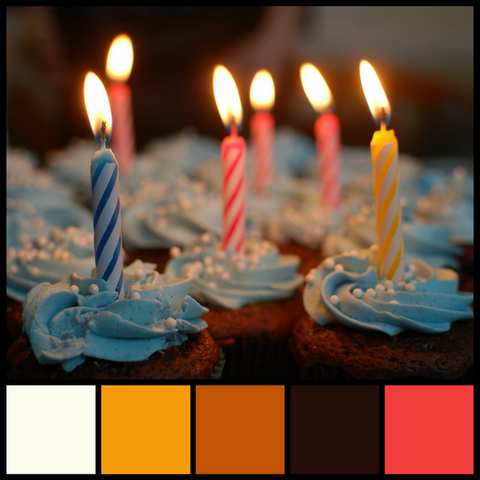 Classic birthday cupcakes and a decadent color palette to match from Sara Hickman Designs.