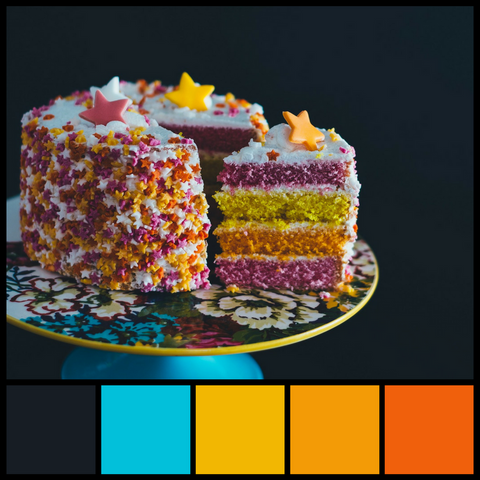 Whimsical and colorful cake provides a bright and colorful color palette from Sara Hickman Designs.