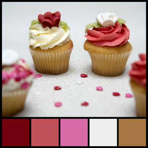 Romantic cupcakes and a savory color palette from Sara Hickman Designs.